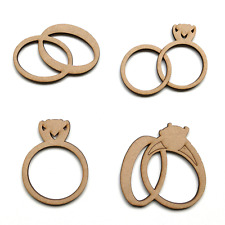 Wooden MDF Wedding Engagement Rings Shapes Craft Ring Embellishments