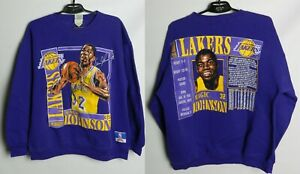 Vintage LA Lakers Magic Johnson Sweatshirt 32 Nutmeg NBA RARE Size M