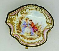 Worcester Rare Dr. Wall Hand Painted Enamel Jeweled Gold Lover Scene Box 1753
