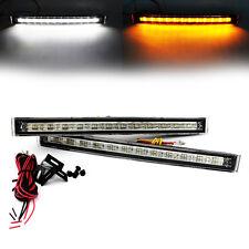 2X White/Amber 12 LED Daytime Running Light Car DRL Turn Signal Fog Lamp 12V-24V