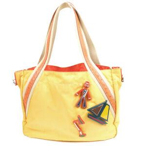 PRADA Nylon Tote Bag Yellow x Orange with Badge