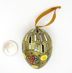Christmas Tree ORNAMENT HAND PAINTED Russian EGG GOLD BLACK KLIMT KISS design