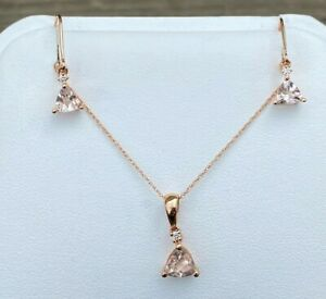 10K ROSE GOLD MORGANITE & DIAMOND PENDANT & EARRING SET