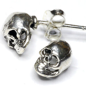1 Paar urige Ohrstecker Skull  925 Silber Schädel Totenkopf Totenschädel Samhain