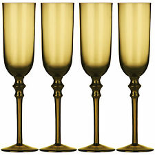 Set Of 4 Smoked Amber Tessa Champagne Glasses Babycham Drinks Wedding Flutes New