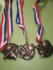 Four Red White And Blue Ribbon Baseball Medals for 1998 Waupaca tournment champ