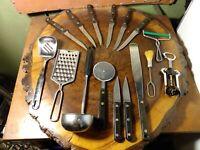 Ekco Foley Vintage Utensils Grater Sifter Scoop Chefline Steak knives lot of 15