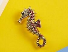 aurora iridescent gold red pin brooch seahorse sea animal jewelry holiday gift