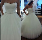 NEW A Line Tulle White Ivory Wedding Dress Bridal Gown Custom Plus Size 6 20