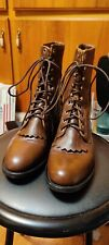 Vintage Leather Western Boots Kiltie Lacers Ropers 7 B Justin