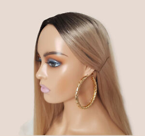 Beautiful 8cm gold tone large chunky - thick leaf design round hoop earrings