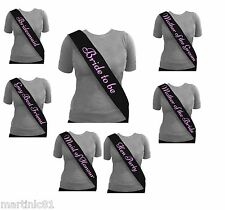 ELEGANT BLACK HEN PARTY SASH SASHES GIRLS DO NIGHT OUT ACCESSORIES WEDDING BRIDE