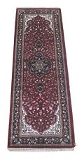 Hand-Knotted Narrow Rug 2x6 Wool Artificial Silk 2' x 6' 5'' Deep Red