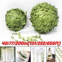 40/77/200m Artificial Vine Fake Green Leaves Hanging Wedding Party Garden Decor