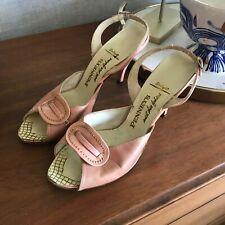 Vintage 50's Pink & Gold Penney's Peep Toe Slingback Heels Mid Century Retro 8 9