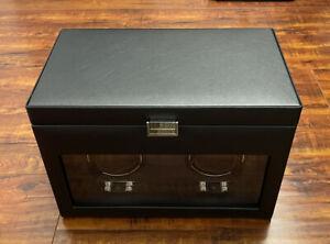 NEW WOLF Heritage Double Watch Winder w/ Storage | Black