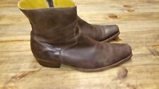 Sendra Engineer Boots Men's Brown Leather Distressed Ankle SIze 10 Side Zipper