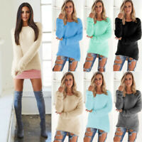 Women's Long Sleeve Loose Winter Warm Sweater Casual Tops Jumper Pullover Dress
