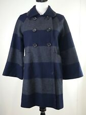 J Crew Peacoat Sz 4 Navy Grey Stripe Wool Blend Dress Car Lined 3/4 Sleeve Small