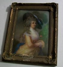 Dutchess of Devonshire Picture Convex Glass Royal Gold Frame Gold Powder Antique