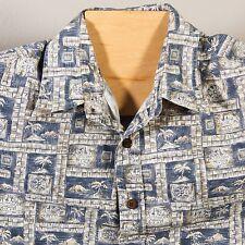 Vtg 70s COOKE STREET Mens Large Pineapple Compass Honolulu Hawaiian Shirt