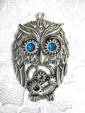 NEW STEAMPUNK HOOT OWL w BLUE EYES GEARS USA PEWTER PENDANT ON ADJ CORD NECKLACE