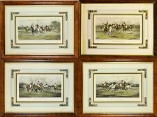 Set of 4 Framed Antique George Wright Polo Pony Horse Lithograph Prints