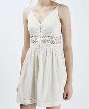 TOPSHOP cream crochet lace insert button through sun tea dress size 8 petite