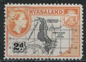NYASALAND PROTECTORATE:1953 SC#100 Used Map and Coat of Arms T300