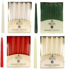 PRICES TAPERED DINNER CANDLES - 25CM -SILVER -GOLD - IVORY - GREEN- RED - WHITE