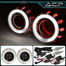 "For Ford 2.5"" Bi Xenon Hid Headlight Retrofit Projector Dual Red Halo Pearl Ring"