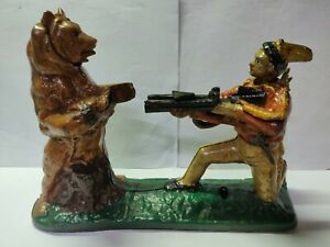 ANTIQUE / VINTAGE STYLE CAST IRON INDIAN SHOOTING BEAR MECHANICAL BOX BANK