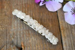 Raw Rose Quartz Barrette Pink Crystal Gemstone Hair Pin Clip Barrettes Cut Rough