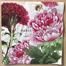 1 single Decoupage Cocktail Napkin Peony Celosia  Shabby Chic Bee Summer Flowers