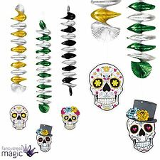 Halloween Mexican Day Of The Dead Party Sugar Skull Hanging Spiral Decoration x3