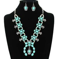 SQUASH blossom double chain necklace set in silver and turquoise