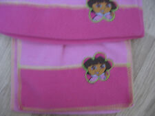 NEW GIRL'S DORA THE EXPLORER PINK FLEECE HAT & SCARF SET HEAD CIRC 52 cms BNWT