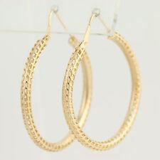 Open Cut Hoop Earrings - 18k Yellow Gold Window Pane Design Pierced