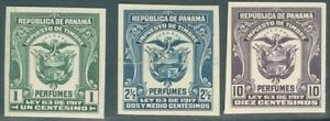 PANAMA 1917 REVENUES PERFUMES TAX 1, 2 1/2, 10 Cents IMPERF PROOFS ON CARD