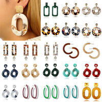 Lot Acrylic Tortoise Shell Drop Dangle Ear Round Circle Resin Hoop Lady Earrings