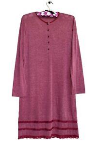 AMALUNA Damen Leichter Nachthemd Lange Nachthemd mit Spitze Einsatz Meliert Gr38