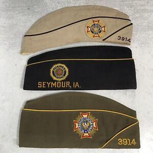 VTG Lot 3 Hats VFW Ladies Auxiliary American Legion Military Caps Iowa 3914 7.25