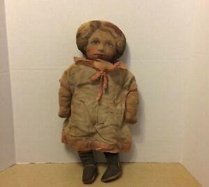 "Antique Art Fabric Mills Printed Cloth Rag Doll 18"" Orig Dress Pat Feb 13 1900"