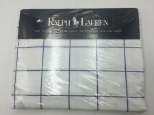 NWT RALPH LAUREN Latham Flat Sheet TWIN Size Blue White Large Check Grid Pattern