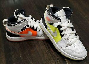 Jordan 1 mid Notebook hyper crimson/volt/white  Athletic boys Shoes Size 1 1Y