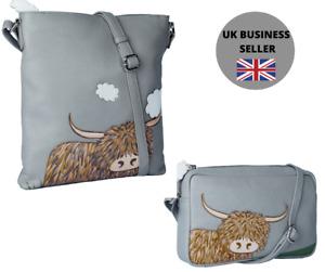 Premium Leather Highland Cow Grey Crossbody Bag by Mala Leather - 2 sizes
