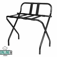 Folding Luggage Rack Black Heavy Duty Metal With Guard and Rubber Feet Portable