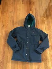 Patagonia Girls Winter Hooded Jacket Size L 12 DARK GREEN Zip Front