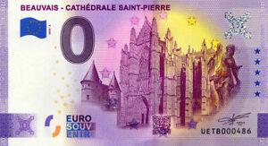 60 BEAUVAIS Cathédrale Saint-Pierre, N° de la 5ème, 2020, Billet Euro Souvenir