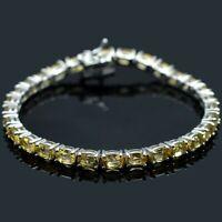 6x4 mm Oval Cut Natural Citrine Gemstone Sterling 925 Silver Tennis Bracelet